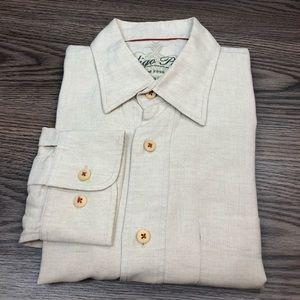 Indigo Palms Natural Linen Washed Shirt L
